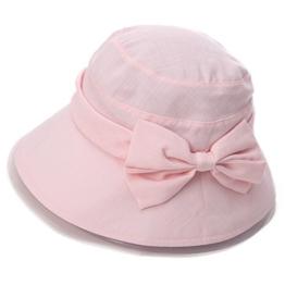SIGGI faltbarer Bucket Sonnenhut breite Krempe mit Schleife Damen Rosa -