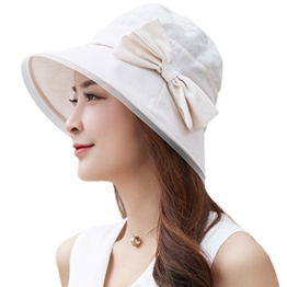 SIGGI faltbarer Bucket Sonnenhut breite Krempe mit Schleife Damen Beige -