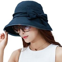 SIGGI faltbarer Bucket Sonnenhut breite Krempe mit Schleife Damen Schwarzblau -