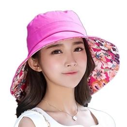 SIGGI faltbarer Sonnenhut Damen UPF 50 + breite Krempe mit Sonnenschutz rose -