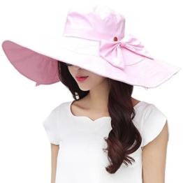 SIGGI rosa Buamwolle schlaffer Sommerhut mit Sonnen Shade für Damen faltbarer Sonnenhut breite Krempe -