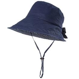 SIGGI schwarzblaue Leinen/Baumwolle Damen Sonnenhüte Sonnen Shade mit Kinnriemen faltbare Fischerhüte SPF 50 + breite Krempe -