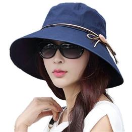 SIGGI schwarzblauer Baumwolle faltbarer Sommerhut mit Sonnen Schutz für Damen Sonnenhut Fischerhut breite Krempe -
