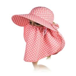 SIGGI Sommerhut Strand Sun Shade mit Gesichtsmaske Damen breite Krempe rose -