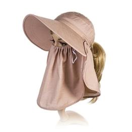 SIGGI Sommerhut Strand Sun Shade mit Gesichtsmaske Damen breite Krempe kaffeebraun -