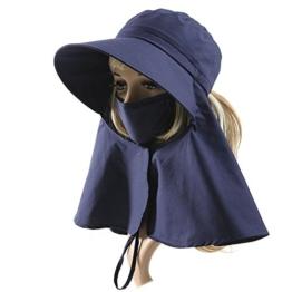 SIGGI Sommerhut Strand Sun Shade mit Gesichtsmaske Nackenschutz Damen breite Krempe schwarzblau -