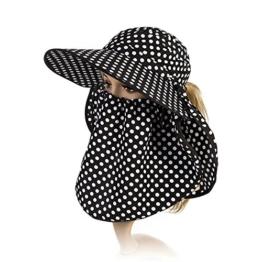 SIGGI Sommerhut Strand Sun Shade mit Gesichtsmaske Damen breite Krempe schwarz -