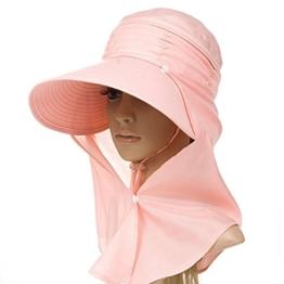 SIGGI Sommerhut Strand Sun Shade mit Nackenschutz Damen breite Krempe orange -