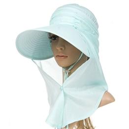 SIGGI Sommerhut Strand Sun Shade mit Nackenschutz Damen breite Krempe mintgrün -