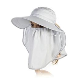 SIGGI Sommerhut Strand Sun Shade mit Gesichtsmaske Damen breite Krempe grau -