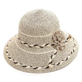 SIGGI Sonnenhut beiger Sommerhut Sun Shade Hut Sonnenschutz mit für Frauen breite Krempe mit Blume -