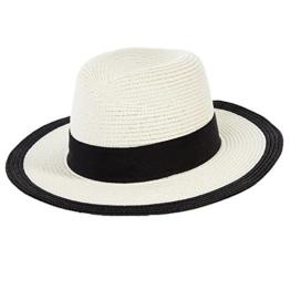 SIGGI Stroh Panamahut Sonnenhut breite Krempe Damen Fedora Weiß -