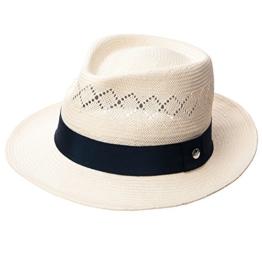 SIGGI Unisex Panama Strohhut Sonnenhut Fedora Tribly Hut Kurze Krempe Elfenbeinfarben -