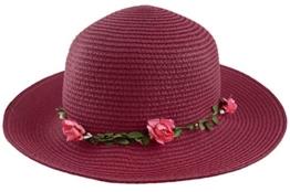 Sonia Originelli Stohhut Damen Blumen Sommer Hut Cap Sonnenhut C007-Flower (Berry) -