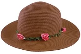 Sonia Originelli Stohhut Damen Blumen Sommer Hut Cap Sonnenhut C007-Flower (Cappucino) -