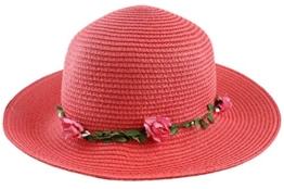 Sonia Originelli Stohhut Damen Blumen Sommer Hut Cap Sonnenhut C007-Flower (Koralle) -