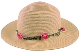 Sonia Originelli Stohhut Damen Blumen Sommer Hut Cap Sonnenhut C007-Flower (Vanilla) -