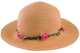 Sonia Originelli Stohhut Damen Blumen Sommer Hut Cap Sonnenhut C007-Flower (Dark Vanilla) -