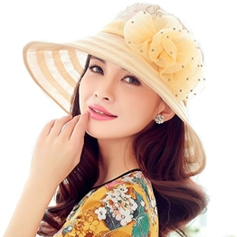 Sonnenschutz Haut Hut weiblichen Sommer Sonnenhut Spitze Blumen faltbar Sonnenhut Winddicht Hut Frauen Anti-UV-Hüte Damen Strand Hut großen Hut (Pink) -