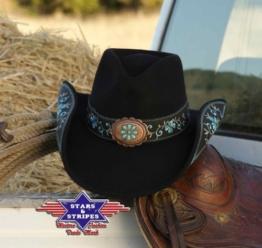 """Stars & Stripes Westernhut: Cowboyhut """"Sally"""". schwarz Größe 1 (S) -"""