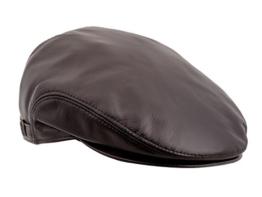 Sterkowski Echt Leder Schiebermütze mit Ohrenklappe Schlägermütze Flat Cap 57 Braun -