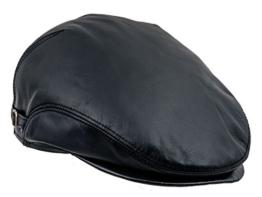Sterkowski Echt Leder Schiebermütze mit Ohrenklappe Schlägermütze Flat Cap 56 Schwarz -