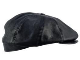 Sterkowski Echt Leder Schiebermütze Schlägermütze Flat Cap 57 cm Schwarz -