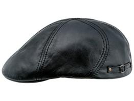 Sterkowski Echt Leder Schiebermütze Duckbill Schlägermütze Flat Cap 59 cm Schwarz -
