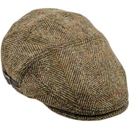 Sterkowski Harris Tweed Schiebermütze Ivy League Schlägermütze Flat Cap 58 cm Gelb -