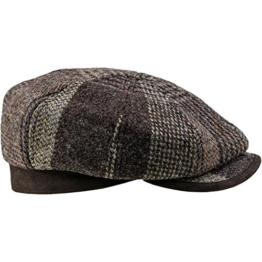 Sterkowski Harris Tweed Schiebermütze 8 Panel Gatsby Schlägermütze Flat Cap 58 Braun -