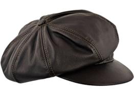 Sterkowski Rindleder Großer Kopf Schiebermütze Jimmy 62-63 cm Braun -