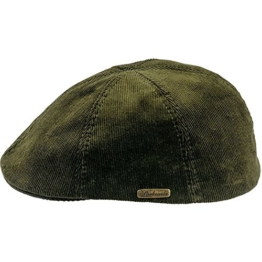 Sterkowski Sommer Kord Baumwolle Schiebermütze Flat Cap 58 Khaki -