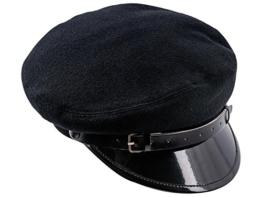 "Sterkowski Wolle ""Maciejówka"" Schirmmütze mit Lackiert Shirm 57 cm Schwarz -"