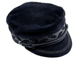 Sterkowski Wolle Seefahrer Breton Stil Geiger Schirmmütze 54 cm Schwarz -