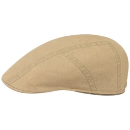 Stetson Baumwolle-Leinen Ivy Flatcap Schirmmütze Sommercap Sonnencap Sommermütze Herrencap Cap Kappe Baumwollcap Schiebermütze (58 cm - beige) -