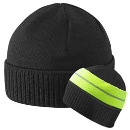 Stetson Blakely Neonsign Strickmütze Neonband Wintermütze (One Size - schwarz) -