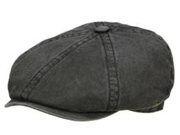 Stetson Brooklin Vintage Ballonmütze Schirmmütze aus Baumwolle und Leinen - schwarz XXL/62-63 -