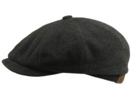 Stetson Hatteras Ballonmütze Schirmmütze einfarbig Schurwolle - anthrazit 56 -