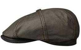 Stetson Hatteras Ballonmütze Newsboy Cap aus Ziegenleder - braun L/58-59 -