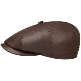 Stetson Hatteras Lambskin Flatcap Schirmmütze Mütze Ledermütze Ledercap Ballonmütze Ballonmütze Schirmmütze (62 cm - dunkelbraun) -