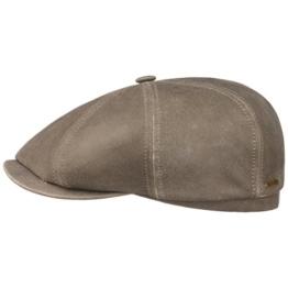 Stetson Hatteras Lammleder Flatcap Lambskin Schirmmütze Ledermütze Ledercap Ballonmütze Mütze Ballonmütze Schirmmütze (55 cm - helloliv) -