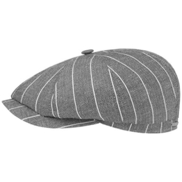 Stetson Hatteras Leinen Stripe Flatcap Schirmmütze Sommercap Sonnencap Sommermütze Herrencap Cap Kap Schiebermütze Schirmmütze (57 cm - grau) -