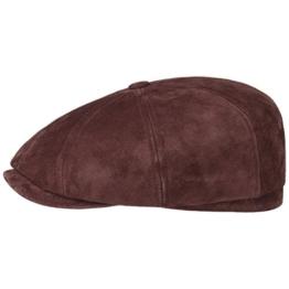 Stetson Hatteras Nubuk Pigskin Flatcap Schirmmütze Ledercap Ledermütze Ballonmütze Cap Mütze Ballonmütze Schirmmütze (S/54-55 - bordeaux) -