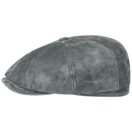 Stetson Hatteras Nubuk Pigskin Flatcap Schirmmütze Ledercap Ledermütze Ballonmütze Cap Mütze Ballonmütze Schirmmütze (XL/60-61 - hellblau) -