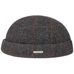 Stetson Herringbone Wool Dockermütze Wollmütze Wintermütze Mütze Dockercap Fischgrat Mütze Wintermütze (L/XL (58-61) - anthrazit) -