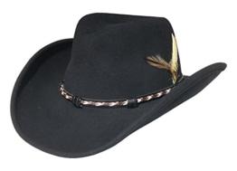 Stetson Hut schwarz Knautschhut Wolle wasserabweisend Cowboyhut, Größe:L -