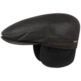 Stetson Kent Leder Flatcap Ohrenklappen Ledermütze Schirmmütze Mütze Schiebermütze Wintermütze Schirmmütze Flatcap (63 cm - schwarz) -
