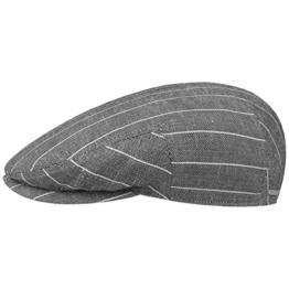 Stetson Kent Leinen Stripe Flatcap Schirmmütze Sommercap Sonnencap Sommermütze Herrencap Cap Kappe Schiebermütze Schirmmütze (60 cm - grau) -