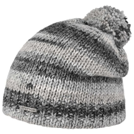Stetson Ophelio Beanie Bommelmütze Mütze Strickmütze Wintermütze Oversize-Mütze Pudelmütze Wintermütze Skimütze (One Size - grau) -