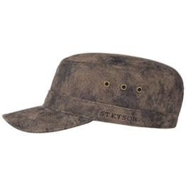 Stetson Raymore Pig Skin Armycap Schirmmütze aus Leder - dunkelbraun/62 -